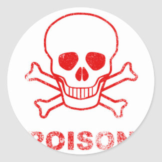 Poison Red Ink Stamp Classic Round Sticker