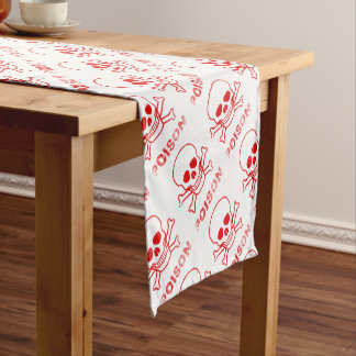 Poison Red Ink Stamp Short Table Runner