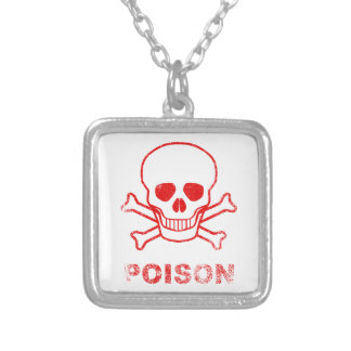 Poison Red Ink Stamp Silver Plated Necklace