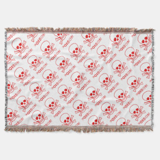 Poison Red Ink Stamp Throw Blanket