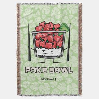 Poke bowl Hawaii raw fish salad chopsticks aku Throw Blanket