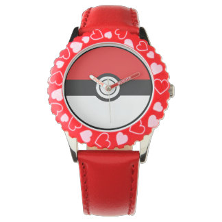 POKE Kid's Bezel Stainless Steel Red Hearts Watch