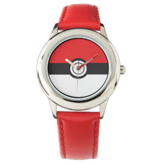 POKE Kid's Stainless Steel Red Leather Strap Watch