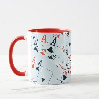 Poker,_Aces,_Pattern, Red Combo Coffee Mug