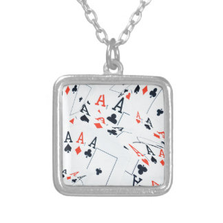 Poker,_Aces,_Pattern,_ Silver Plated Necklace
