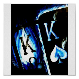 POKER ART BLUE FLAME POCKET KINGS COWBOYS POSTER