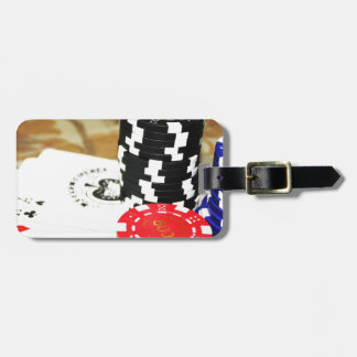 Poker Cards Aces Chips Gambling Casino Win Game Luggage Tag
