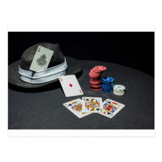 Poker cards gangster hat