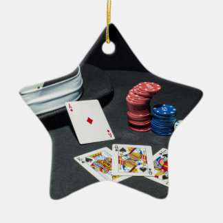 Poker cards gangster hat ceramic ornament