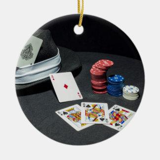 Poker cards gangster hat ceramic ornament