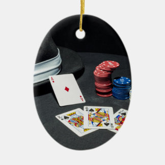 Poker cards gangster hat ceramic oval decoration