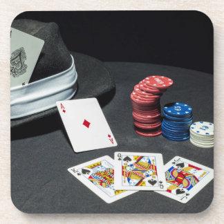 Poker cards gangster hat coaster