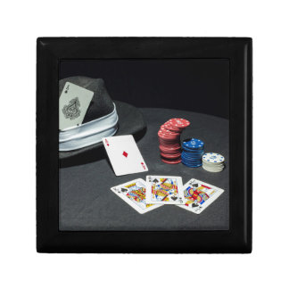 Poker cards gangster hat gift box
