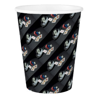 Poker cards gangster hat paper cup