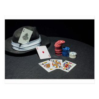 Poker cards gangster hat postcard