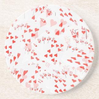 Poker Cards Hearts Straight Flush Pattern, Coaster