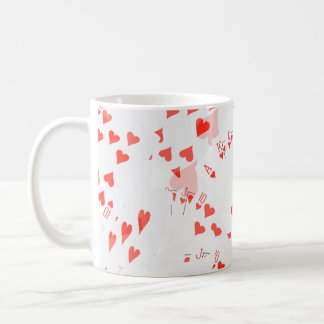 Poker Cards Hearts Straight Flush Pattern, Coffee Mug