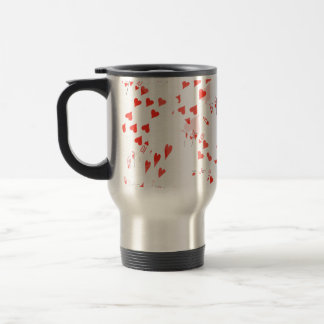 Poker Cards Royal Hearts Flush Pattern, Travel Mug