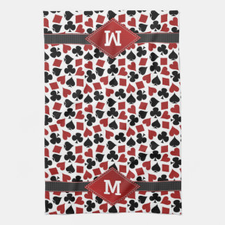 Poker Casino Suit Pattern Monogram Tea Towel
