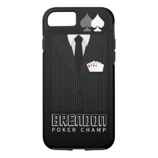 Poker Champ Black and Gray Pinstripe Suit Casino iPhone 8/7 Case