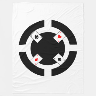 Poker Chip - Black Fleece Blanket