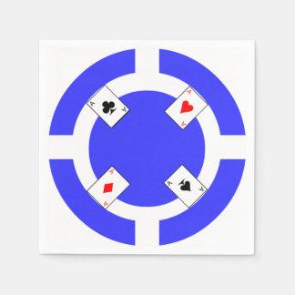 Poker Chip - Blue Disposable Serviette