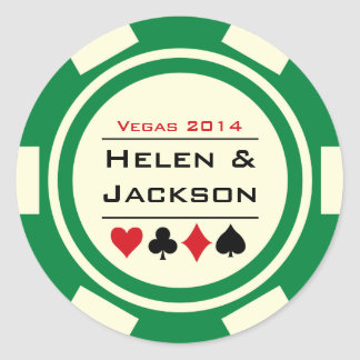 Poker Chip Green and White Round Sticker