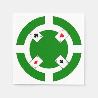 Poker Chip - Green Disposable Serviette
