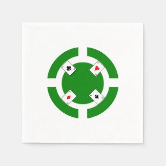 Poker Chip - Green Paper Napkin