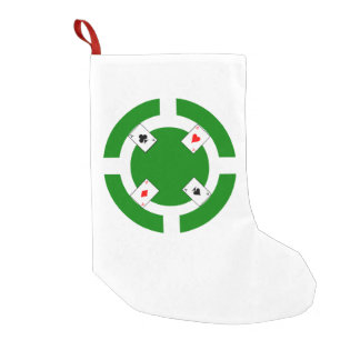 Poker Chip - Green Small Christmas Stocking