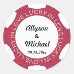 Poker chip lucky in love wedding favour label red round sticker
