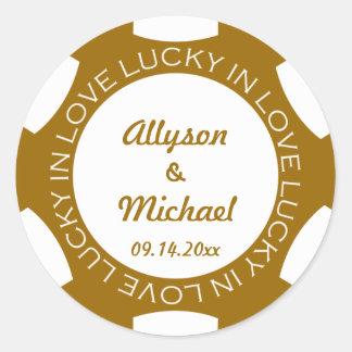 Poker chip lucky in love wedding favour label round sticker