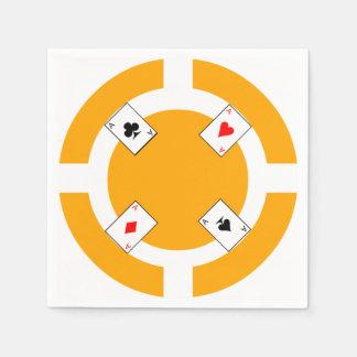Poker Chip - Orange Disposable Napkins
