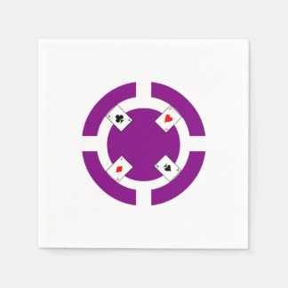 Poker Chip - Purple Paper Napkin