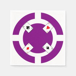 Poker Chip - Purple Paper Napkin