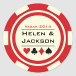 Poker Chip Red and White Round Stickers
