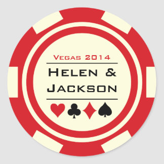 Poker Chip Red and White Round Sticker