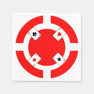 Poker Chip - Red Disposable Napkins