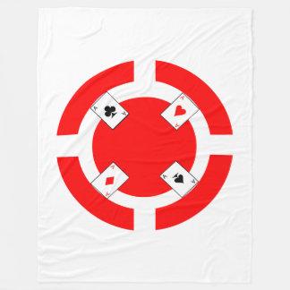 Poker Chip - Red Fleece Blanket