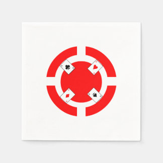 Poker Chip - Red Paper Napkin