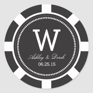 Poker Chip Wedding Stickers - Black