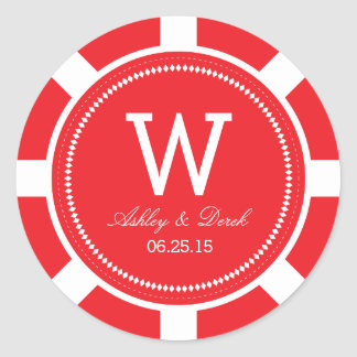 Poker Chip Wedding Stickers - Red
