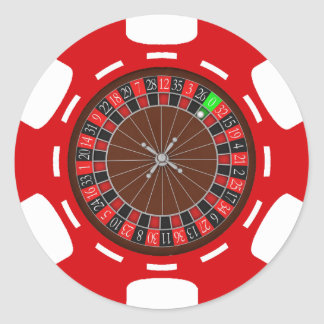 POKER CHIP WITH ROULETTE WHEEL ROUND STICKER