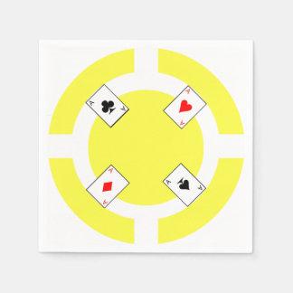Poker Chip - Yellow Disposable Serviette