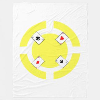 Poker Chip - Yellow Fleece Blanket