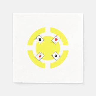Poker Chip - Yellow Paper Napkin