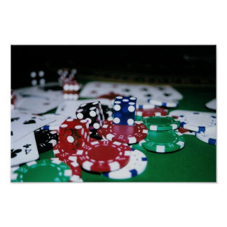 Poker Chips, Cards, and Dice Poster