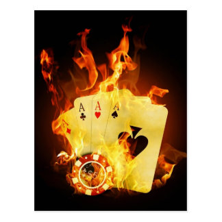 Poker Chips Cards on Fire Postcard