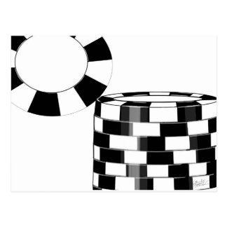 Poker chips in black and white postcard