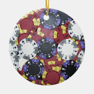 Poker Chips Round Ceramic Decoration